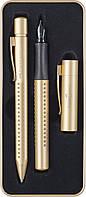 Подарочный набор ручек Faber-Castell GRIP Gold Edition в металлическом пенале, шарик + перо, 201625