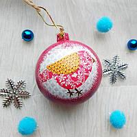 Новогодний ёлочный шар с птичкой  ручной работы в технике декупаж.