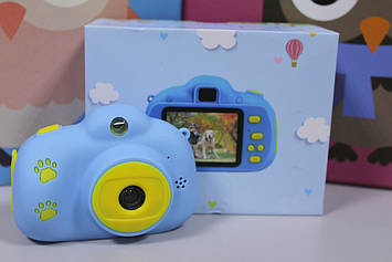 Детский цифровой фотоаппарат Kids camera голубой с селфи камерой 2.0 диагональ экрана