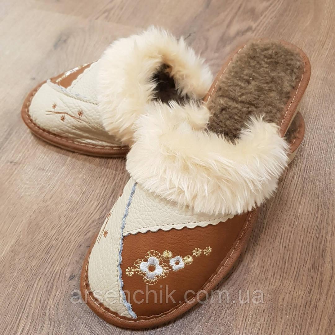 """Домашние кожаные тапочки женские на овчине """"Tylbut"""" 39"""