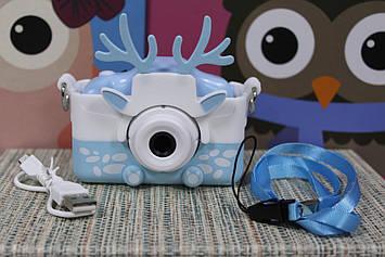 Цифровой детский фотоаппарат в чехле для мальчика с функцией видео камера голубой