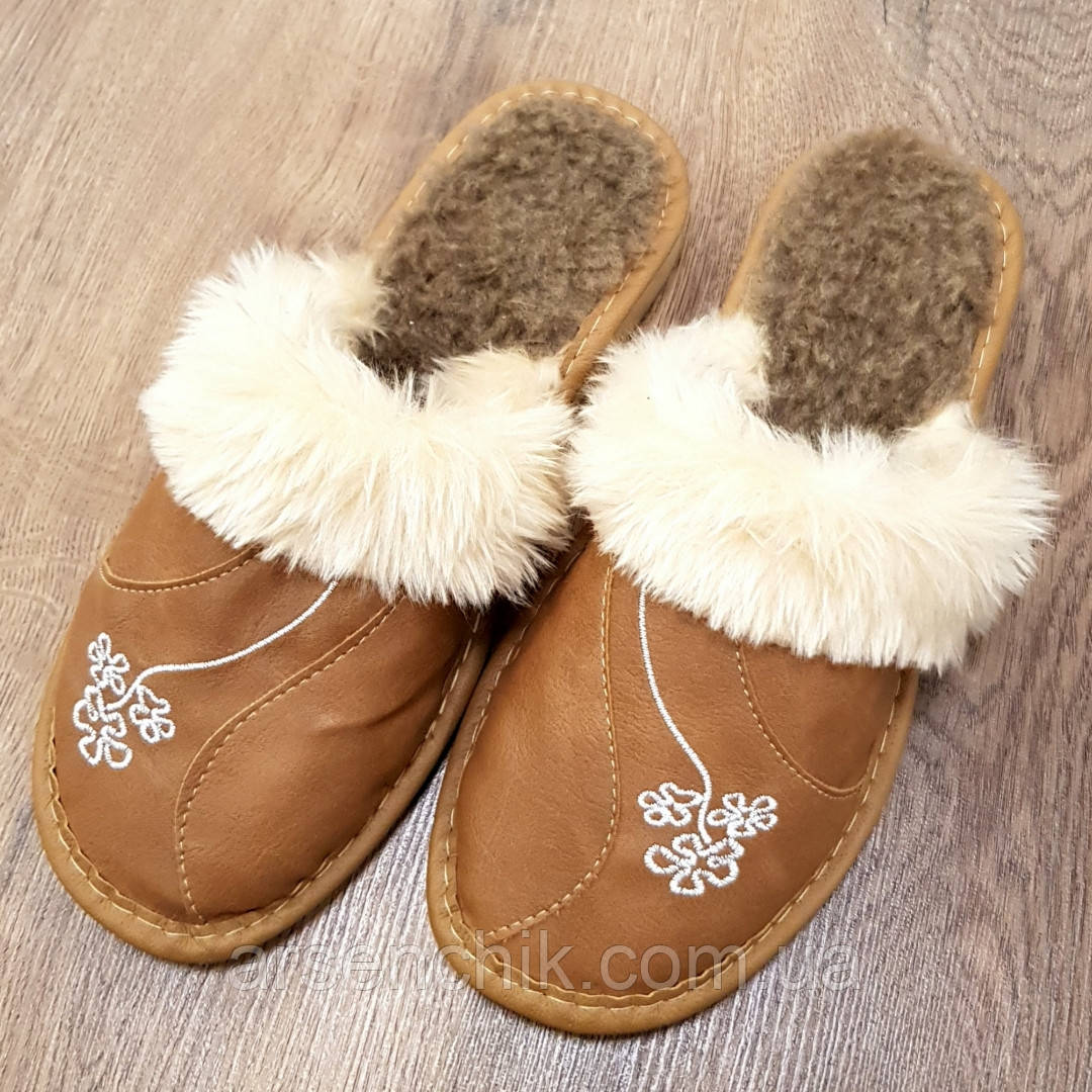 """Домашние кожаные тапочки женские на овчине """"Tylbut"""""""