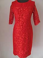 Вечернее платье, стрейч трикотаж вставка гипюр,р.52, код 5350М
