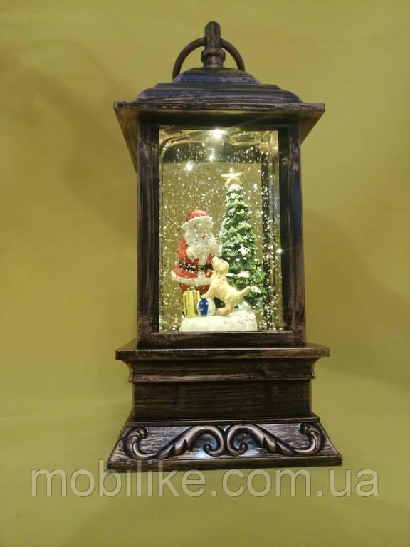 Декоративный рождественский фонарь Санта Клаус