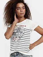 Белая женская футболка LC Waikiki / ЛС Вайкики с сердцем La Vita e Bella, фото 1