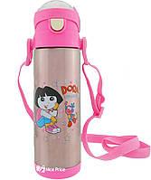 Термос детский с поилкой и шнурком на шею Disney 9030-500 500мл Даша Следопыт Розовый