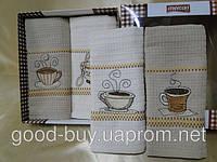 """Комплект вафельных кухонных полотенец              Cotton (хлопок) -  """"Cofee time"""" хлопок  4шт: 45х70 Tурция"""