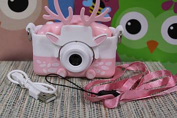 Цифровой детский фотоаппарат в силиконовом розовом чехле HD с функцией видео розовый