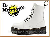 Зимние ботинки Dr Martens Jadon White (Доктор Мартинс 1460, белые) внутри мех / женские, мужские