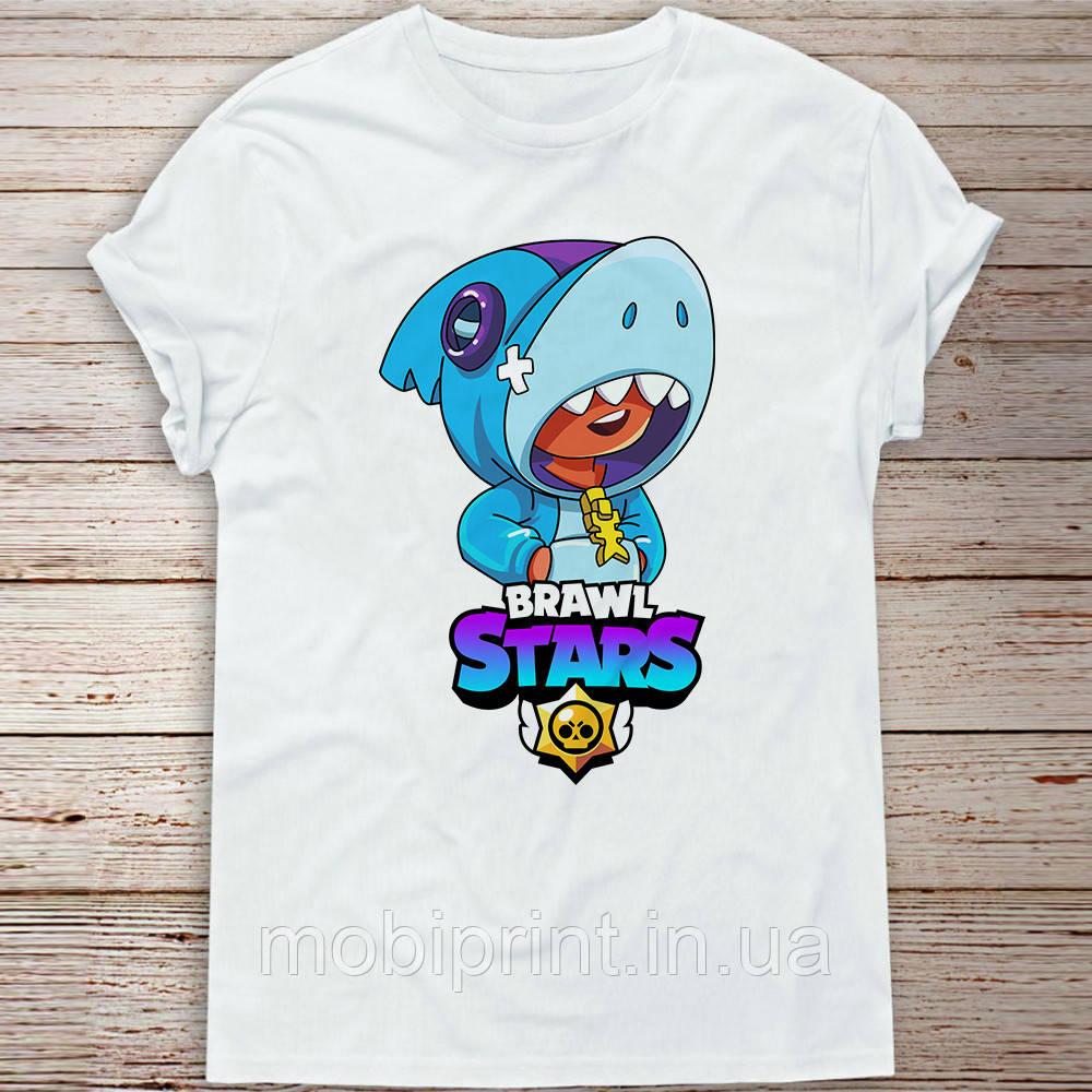 Детская футболка Акула Леон Бравл Старс (Shark Leon Brawl stars) Детская размер 9-11