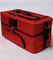 Сумка кейс чемодан бьюти для мастеров текстиль красная