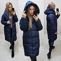 Женская зимняя куртка с капюшоном синяя, арт М530