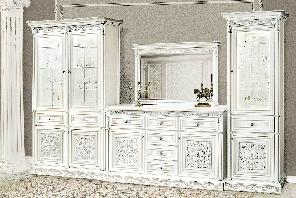 """Меблі у вітальню  """"Тоскана Нова"""" від Скай (білий зісрібною патиною)"""