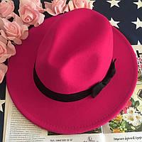 Шляпа женская Федора с устойчивыми полями и бантиком малиновая, фото 1