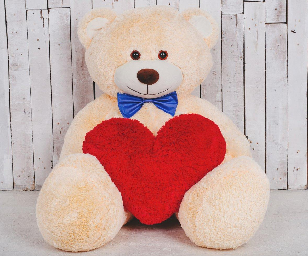 Большая мягкая игрушка мишка с сердцем Билли 150 см Персиковый