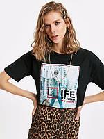 Черная женская футболка Lc Waikiki / Лс Вайкики Life is a dream or reality, фото 1
