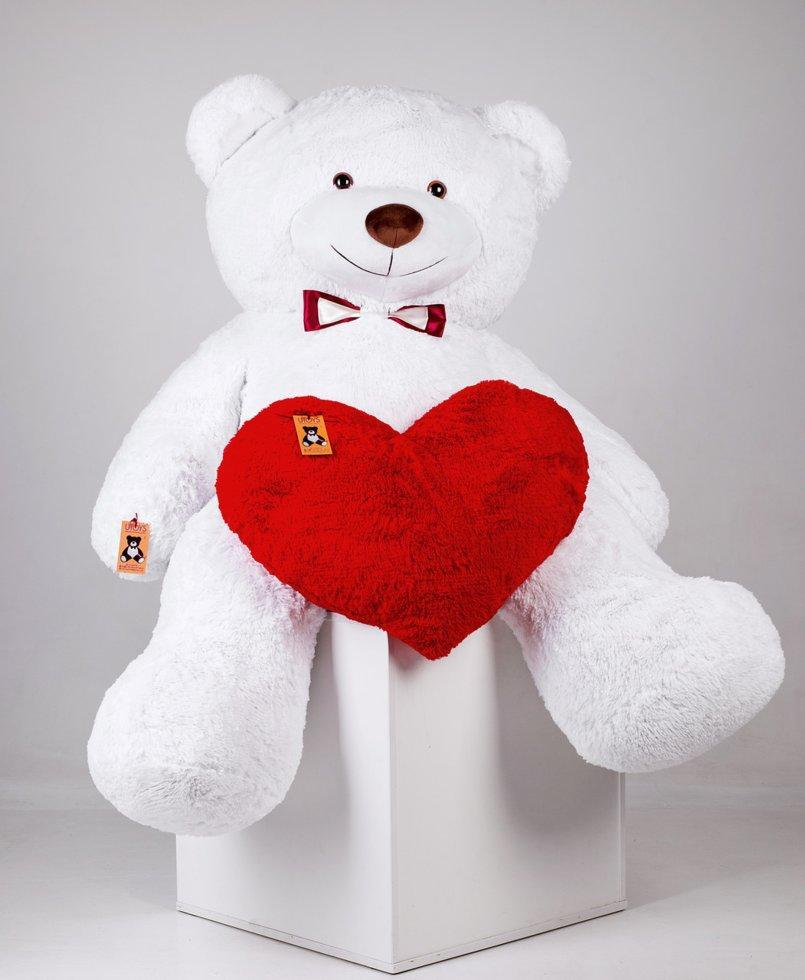 Великий плюшевий ведмедик з серцем Річард 200 см Білий