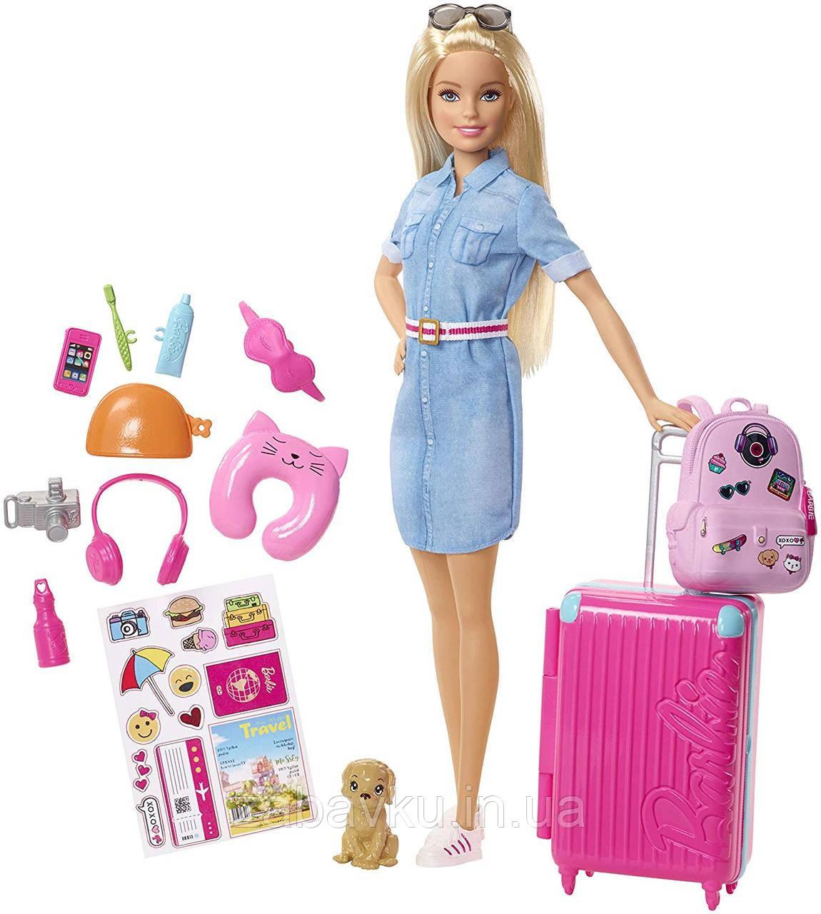 Кукла Барби путешественница набор блондинка Barbie Travel Doll Blonde Лялька Барбі подорож набір