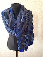 Синий зимний шарф с мехом (цв 05)