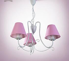 Люстра с розовыми абажурами 3-х ламповая для спальни, детской 13603
