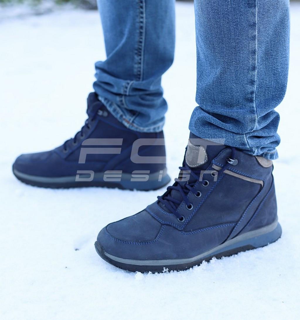 Ботинки зимние синие набивной мех
