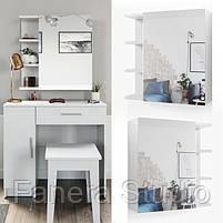 Комплект стіл туалетний з навісним дзеркалом, фото 2