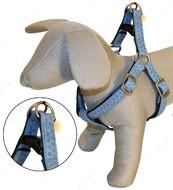 Шлея для собак MYLORD с тиснением, голубая, кожзам, Croci, 25-40х1 см