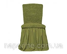 Натяжной чехол с рюшем на стул оливковый 4 штуки