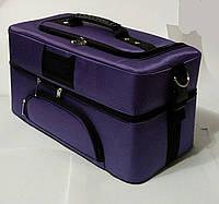 Сумка кейс бьюти из текстиля для мастеров фиолетовый