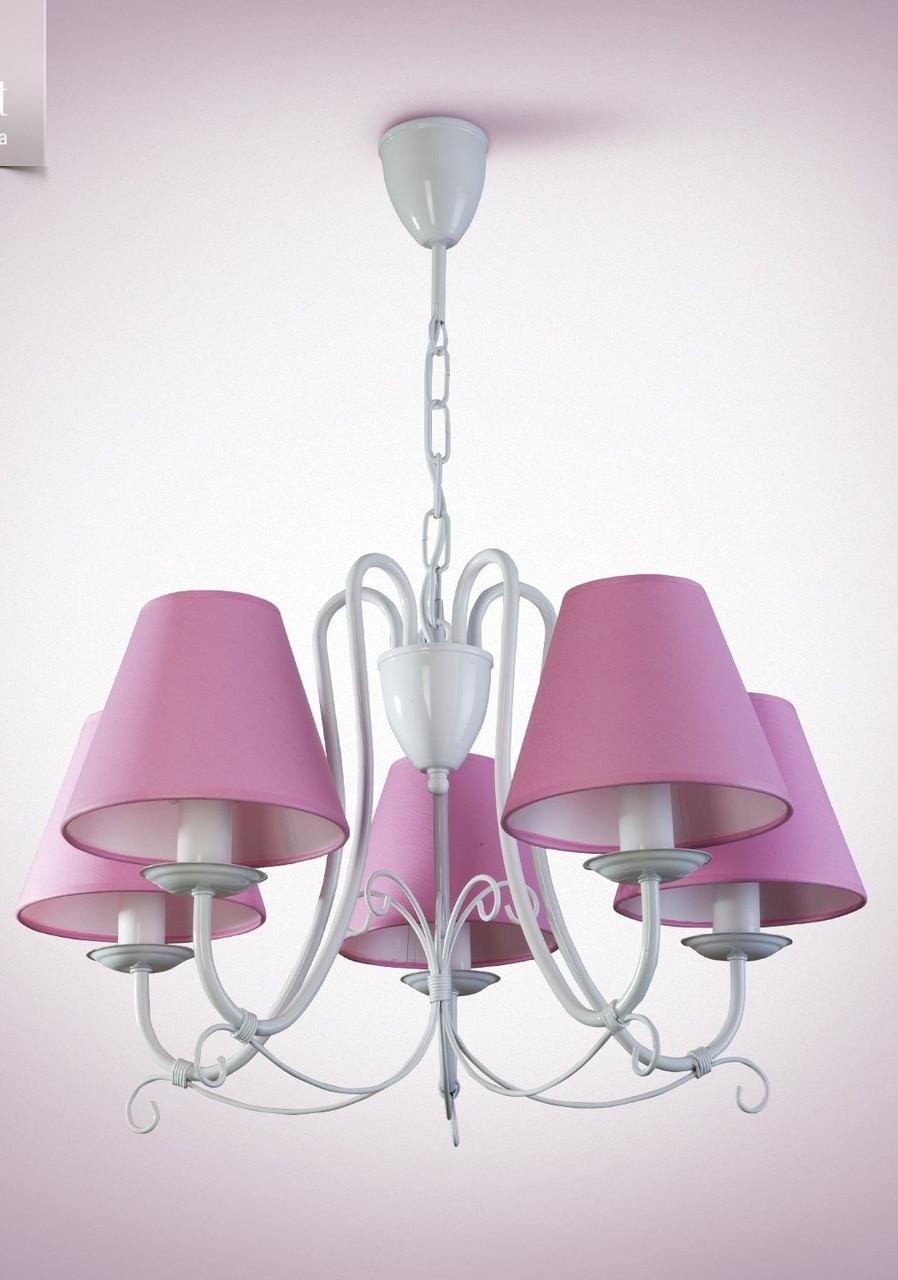 Люстра розовая 5-ти ламповая для зала, спальни, детской 13605-2