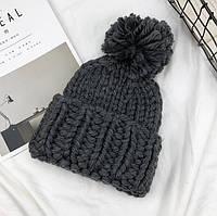 Женская шапка Хельсинки с бубоном темно-серая
