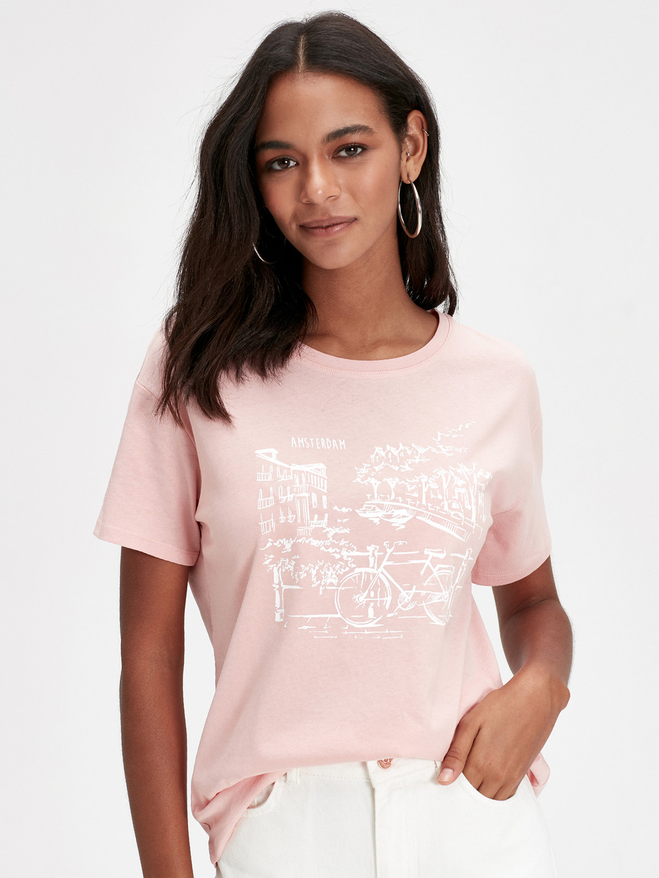 Персиковая женская футболка Lc Waikiki / Лс Вайкики Amsterdam