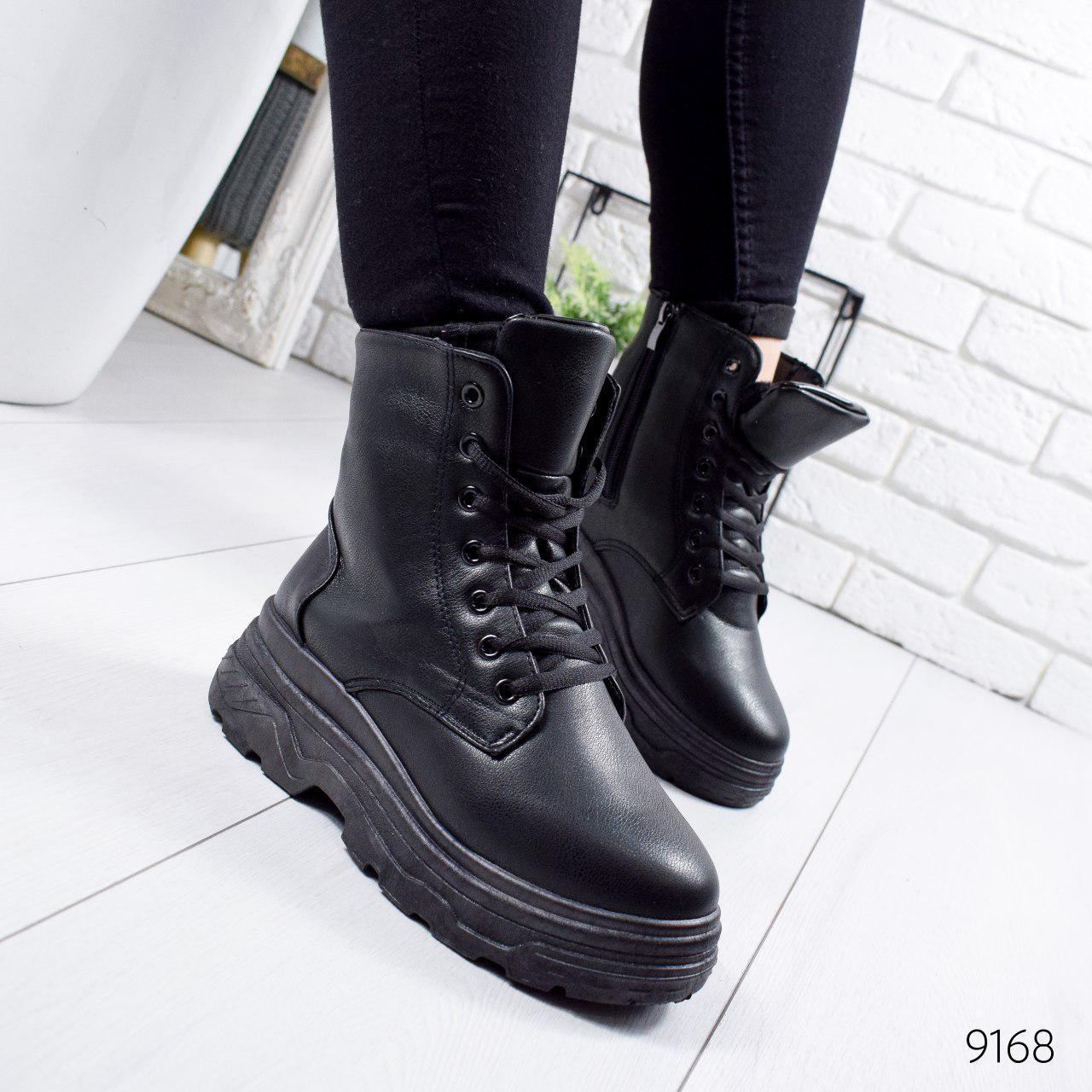 """Ботинки женские зимние, черного цвета из эко кожи """"9168"""". Черевики жіночі. Ботинки теплые"""