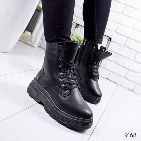 """Ботинки женские зимние, черного цвета из эко кожи """"9168"""". Черевики жіночі. Ботинки теплые, фото 2"""
