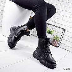 """Ботинки женские зимние, черного цвета из эко кожи """"9168"""". Черевики жіночі. Ботинки теплые, фото 3"""