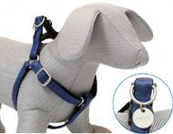 Шлея для собак MYLORD с тиснением, синяя, кожзам, Croci, 25-40х1 см