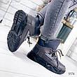 """Ботинки женские зимние, серого цвета из эко кожи и замши """"9174"""". Черевики жіночі. Ботинки теплые, фото 6"""