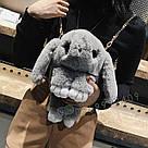 Подарок девушке жене. Сумка рюкзак кролик СЕРЫЙ, фото 2