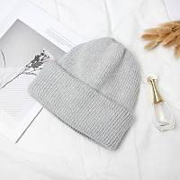 Женская теплая ангоровая шапка серая, фото 1