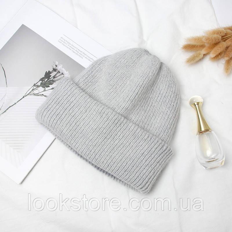 Женская теплая ангоровая шапка серая