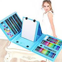 Набор художника для рисования с мольбертом 176 предметов в кейсе (голубой)