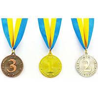Медаль спортивная с лентой WOULD 1-золото, 2-серебро, 3-бронза