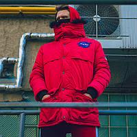 Зимняя мужская парка Nasa красная, фото 1