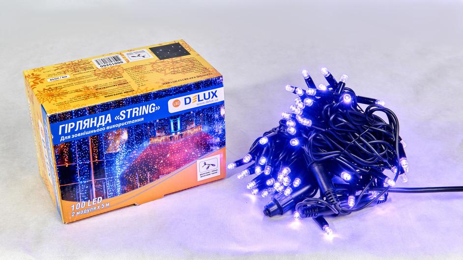 Гирлянда внешняя DELUX STRING 100 LED нить10m (2x5m) 20  flash фиолетовый/черный IP44 EN