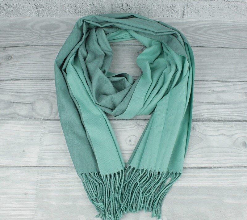 Кашемировый двусторонний шарф, палантин светло-зеленый Cashmere 7280-19