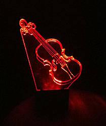 3d-светильник Скрипка, 3д-ночник, несколько подсветок (на батарейке)
