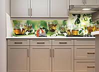 Кухонный фартук Жасмин (наклейки для стеновых панелей, чай, чаепитие, уют зеленый скинали из пленки)600*2500 мм, фото 1
