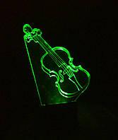 3d-светильник Скрипка, 3д-ночник, несколько подсветок (батарейка+220В)