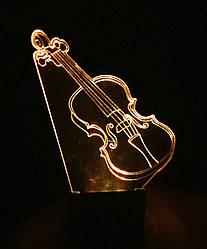 3d-светильник Скрипка, 3д-ночник, несколько подсветок (на пульте)