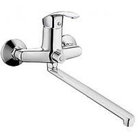 Смеситель для ванной с длинным поворотным изливом 30 см с душем однорычажный CR Fabio